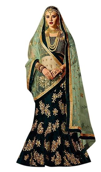 a3c38895f3 PALKAANO Women's Silk Lehenga Choli (Dark Green, Free Size): Amazon.in:  Clothing & Accessories