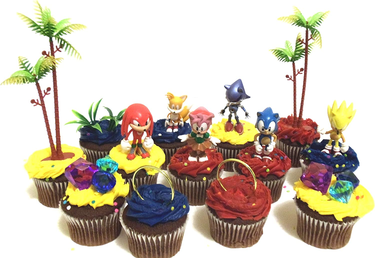 Amazon Com Classic Sonic The Hedgehog Birthday Cupcake Topper Set Featuring Super Sonic Amy Rose Miles Tails Prower Sonic Metal Sonic And Knuckles Themed Decorative Accessories Figures Average 2 5 Tall Kitchen
