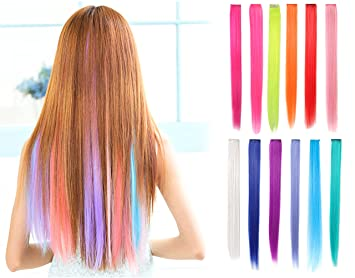 Amazon.com : OneDor 23 Inch Straight Colored Party Highlight Clip on ...