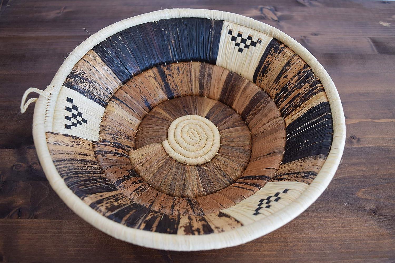 Handwoven African Basket - Bukedo & Raffia Bowl Basket - Decorative Bowl - Handmade in Uganda ~12'' Light Tan, Brown