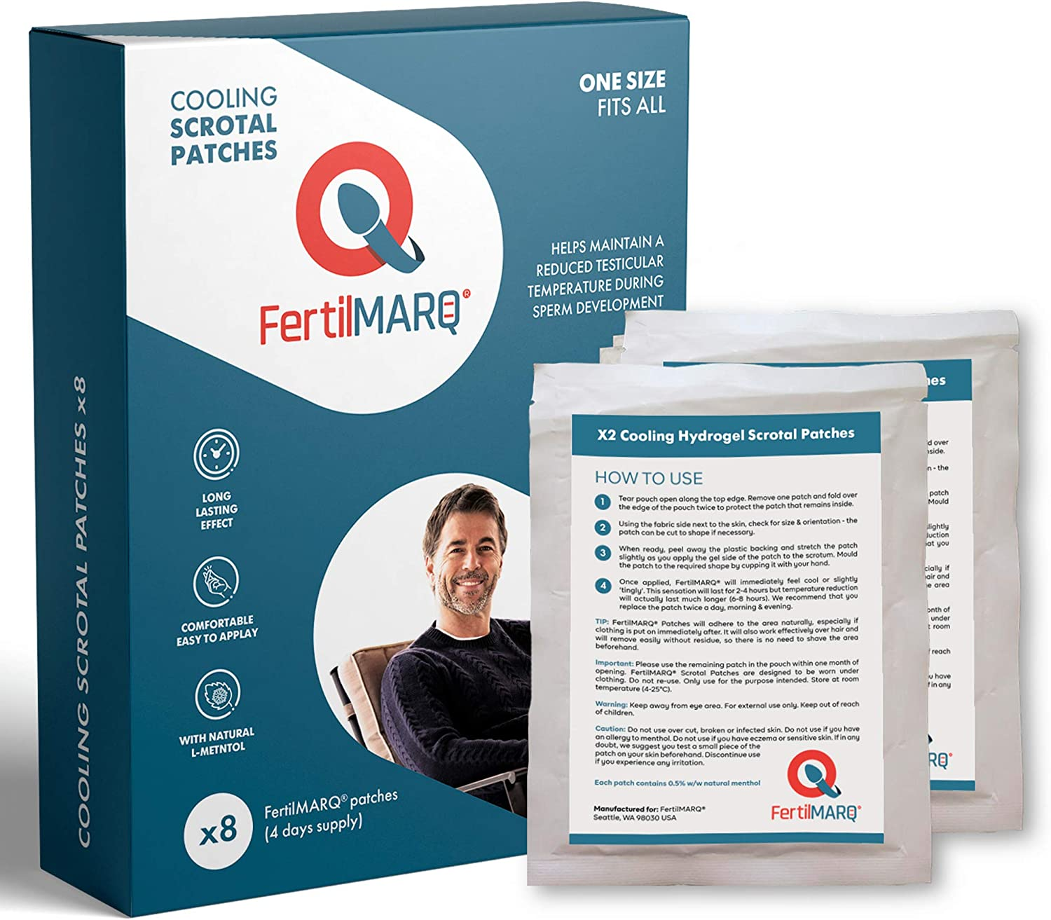 FertilMARQ Scrotum Cooling Patches ~ Specially Designed Hydrogel Pad with Natural L-Menthol ~ for Better Spermatogenesis. 8 Patches