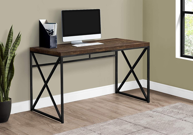 "Monarch Specialties Computer Desk - Contemporary Home & Office Desk - Scratch-Resistant - 48"" L (Brown), Brown Reclaimed Wood-Look/Black Metal (I 7450)"