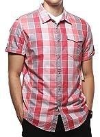 Calvin Klein Men's Check Button down Short Sleeve Shirt