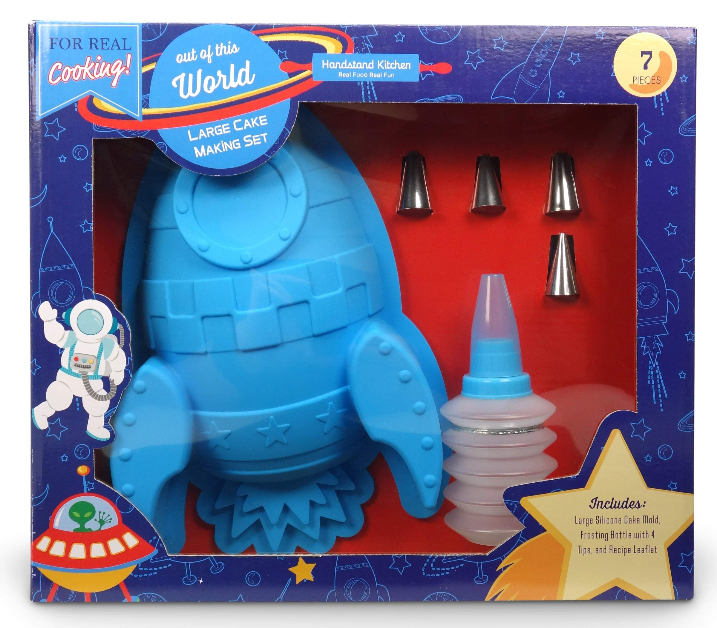 Handstand Kitchen Out of this World 7-piece Real Rocket Shaped Cake Baking Set with Recipes for Kids by Handstand Kitchen (Image #1)