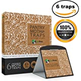 Pantry Moth Traps with Pheromone Attractants & Heavy Duty Glue (6 Pack, Brown)