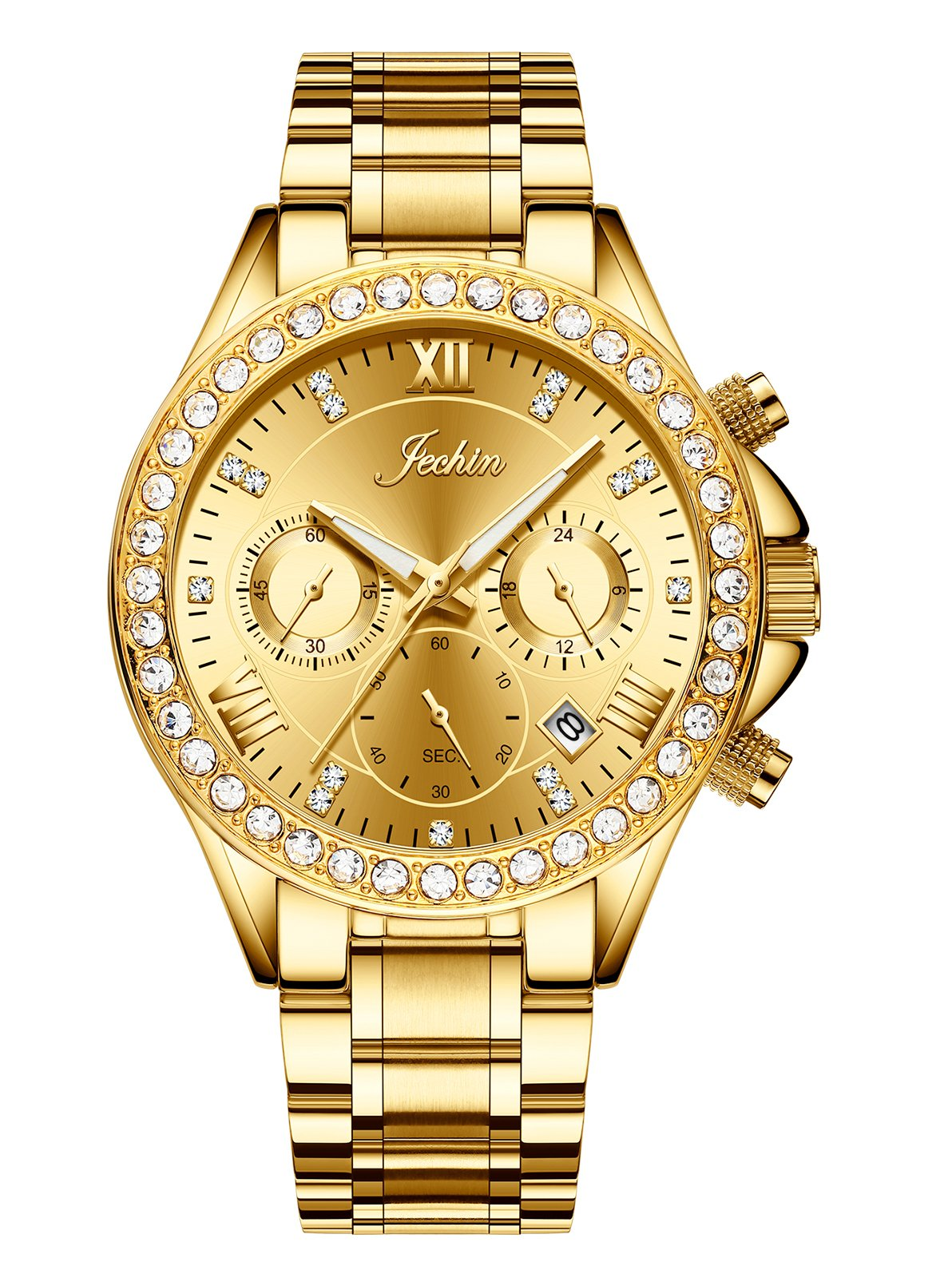 Jechin Unisex Luxury Gold Diamond Crystal Calendar Chronograph Watch 18K Gold Plated Stainless Steel Watches for Women by Jechin