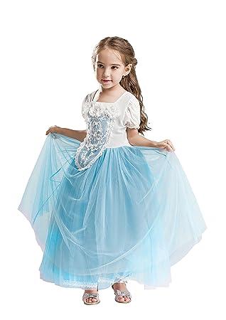 ELSA & ANNA® Princesa Disfraz Traje Parte Las Niñas Vestido (Girls Princess Fancy Dress) ES-FBA-CNDR3 (2-3 Años, ES-CNDR3)
