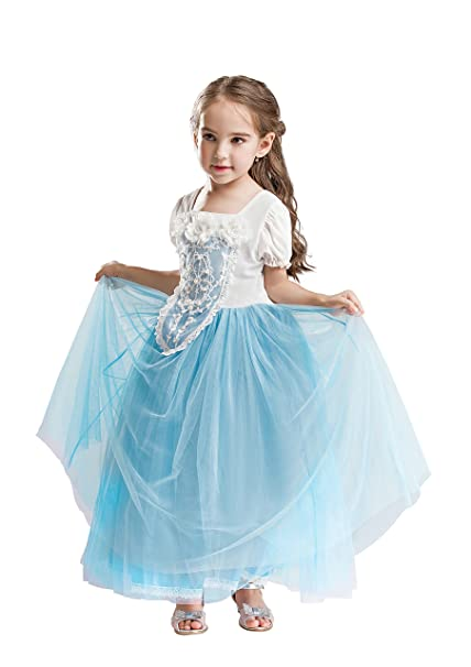 ELSA & ANNA® Princesa Disfraz Traje Parte Las Niñas Vestido (Girls Princess Fancy Dress) ES-FBA-CNDR3 (3-4 Años, ES-CNDR3)