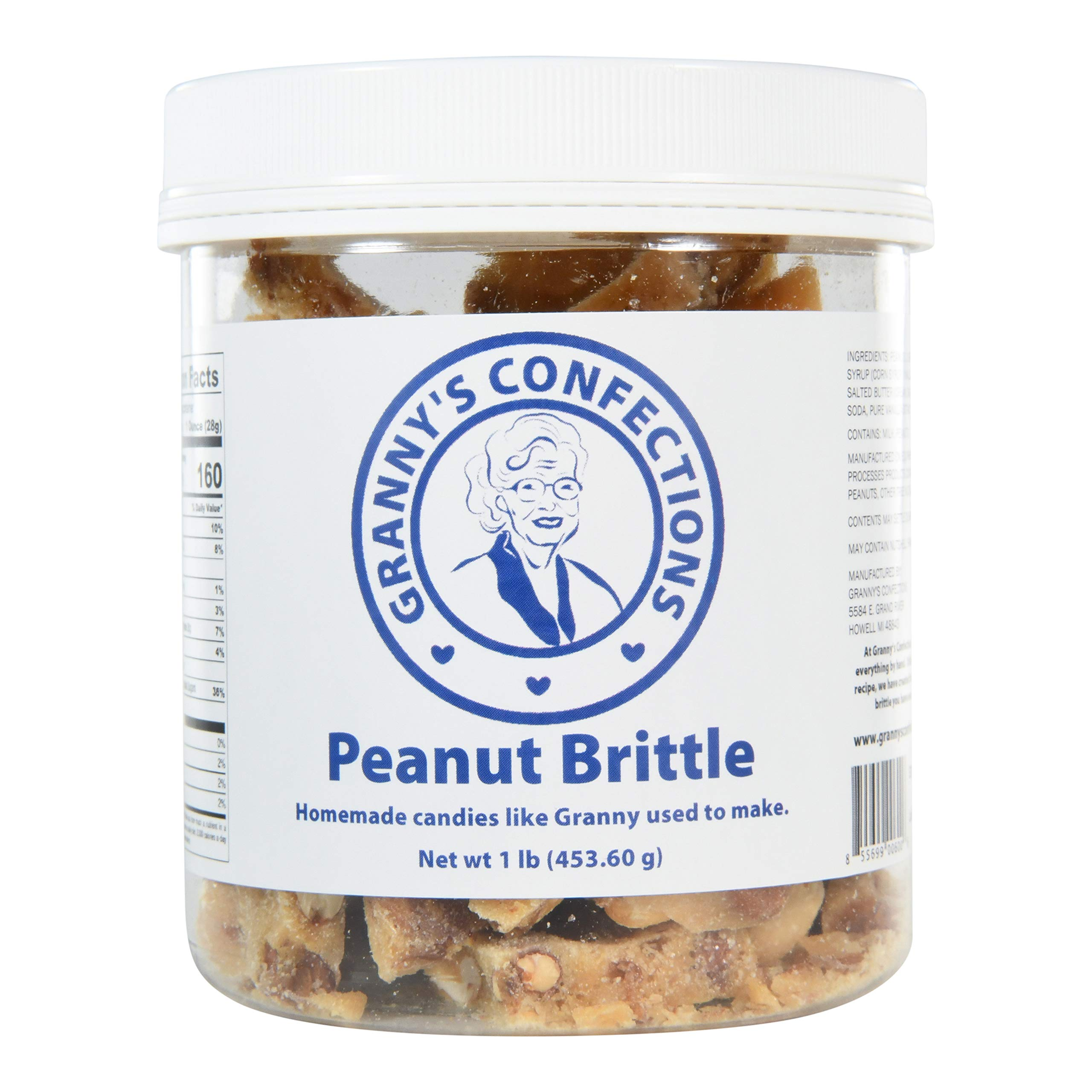 Handmade Peanut Brittle. Voted Best Peanut Brittle. - One Pound (16 oz) Container by Granny's Confections LLC