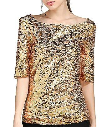 Tops Femme Eté Élégant Mode T Shirts Paillettes Manches 3 4 Rond Col Party  Basic a0ddba351f4a
