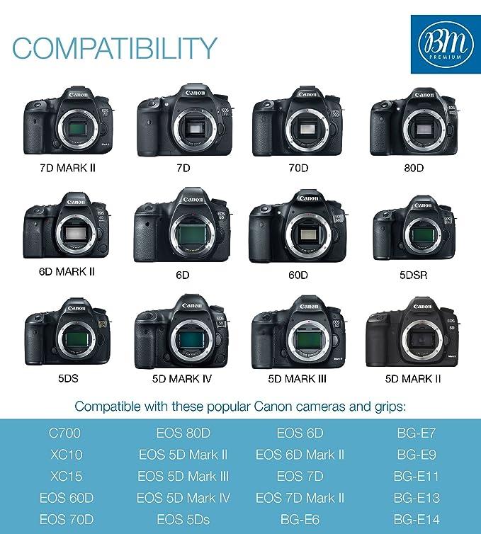 BM Premium LP-E6, LP-E6N Dual Rapid Battery Charger for Canon EOS R, EOS  60D, EOS 70D, EOS 80D, EOS 5D II, EOS 5D III, EOS 5D IV, EOS 5Ds, EOS 6D  Mark