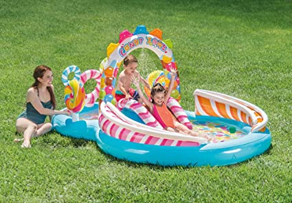 Inflatable Kids Water Play Center Candy Zone Childrens Swimming Pool Slide NEW