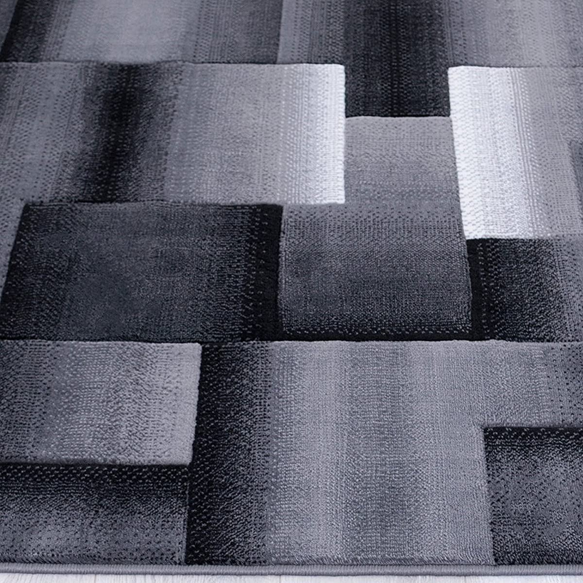Handcraft Rugs Silver/Black and Gray Abstract Geometric Modern Squares Pattern Area Rug 5 ft. by 7 ft.