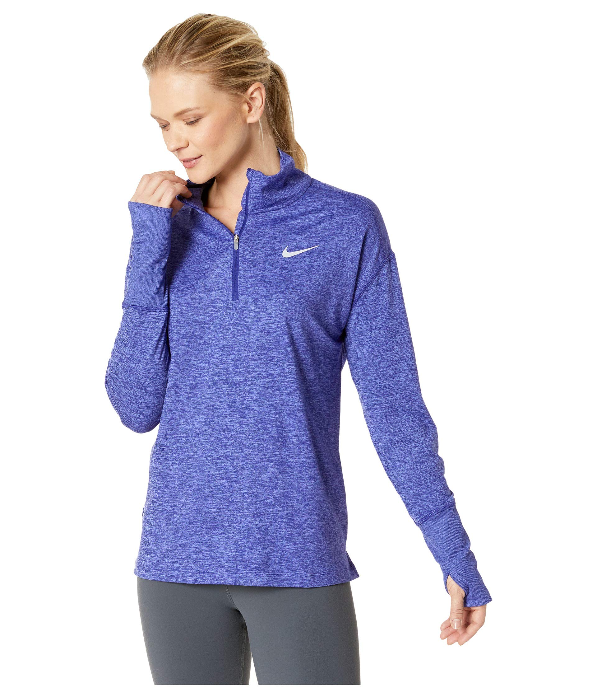 Nike Women's Element 1/2 Zip Running Top Regency Purple/Rush Violet/Heather Size Small by Nike