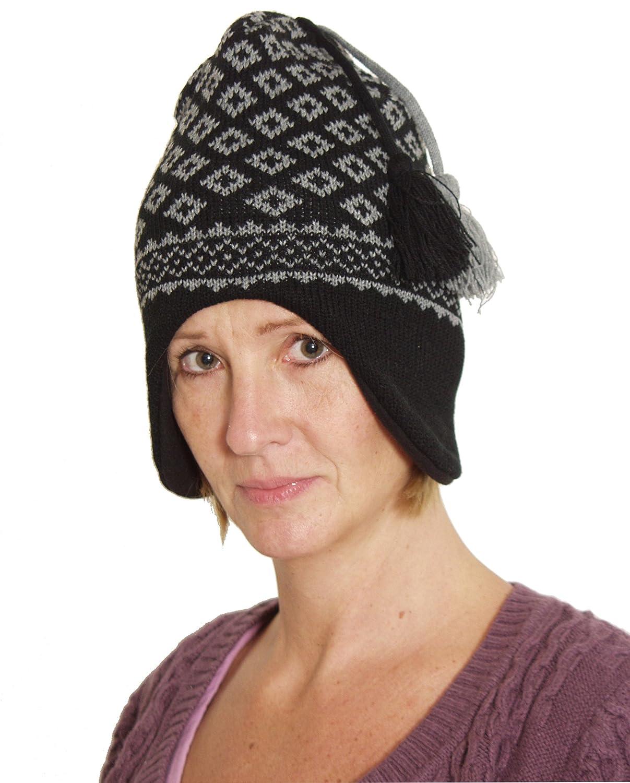 BRUBAKER Berretto Imbottito per Donne in Stile Norvegese con Cappello ponpon con Fodera in Pile in Color Nero-Grigio