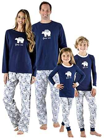 49f9233e14 Amazon.com  SleepytimePjs Family Matching Sleepwear Knit Blue Polar Bear Pajamas  PJ Sets  Clothing