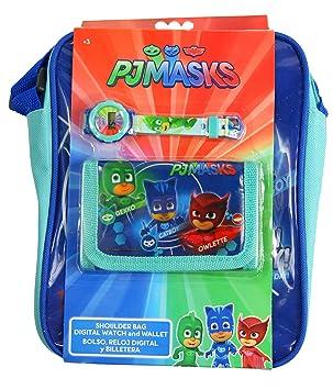 PJ MASKS Reloj digital para niños + billetera + bolsa, con licencia oficial: Amazon.es: Juguetes y juegos