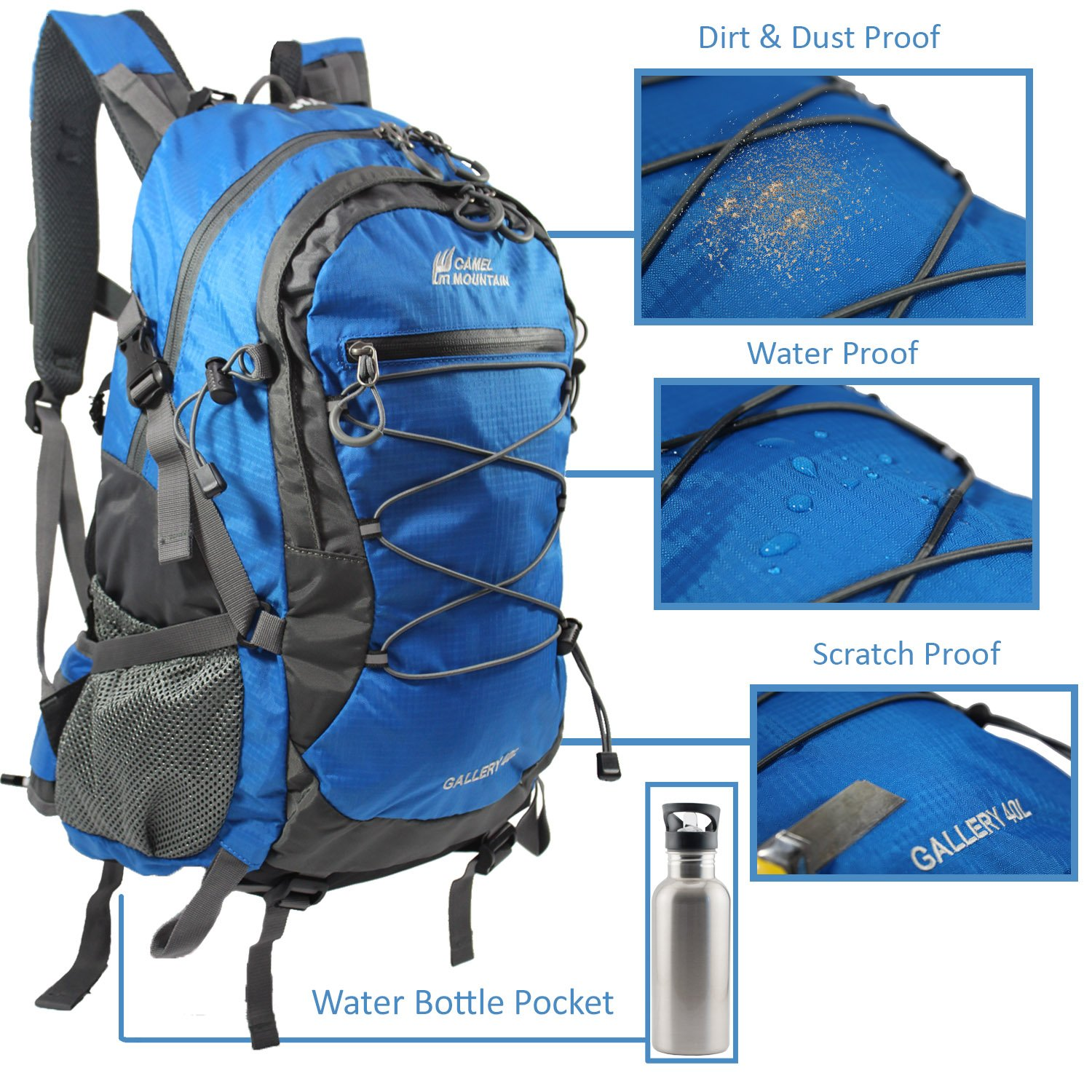 cb056cd1efa Amazon.com : Camel Mountain Hiking & Camping Backpack, Anti-Theft Backpack,  Fits 13'-17' Laptop Multipurpose (Blue) : Sports & Outdoors
