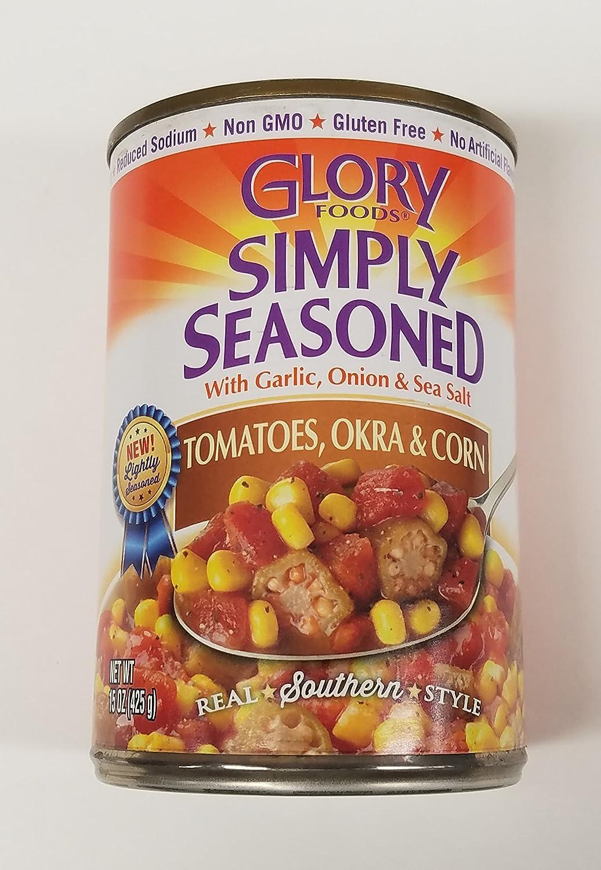 Glory Foods Sensibly Seasoned Tomatoes Okra and Corn15 Ounce ( 6 - Pack )