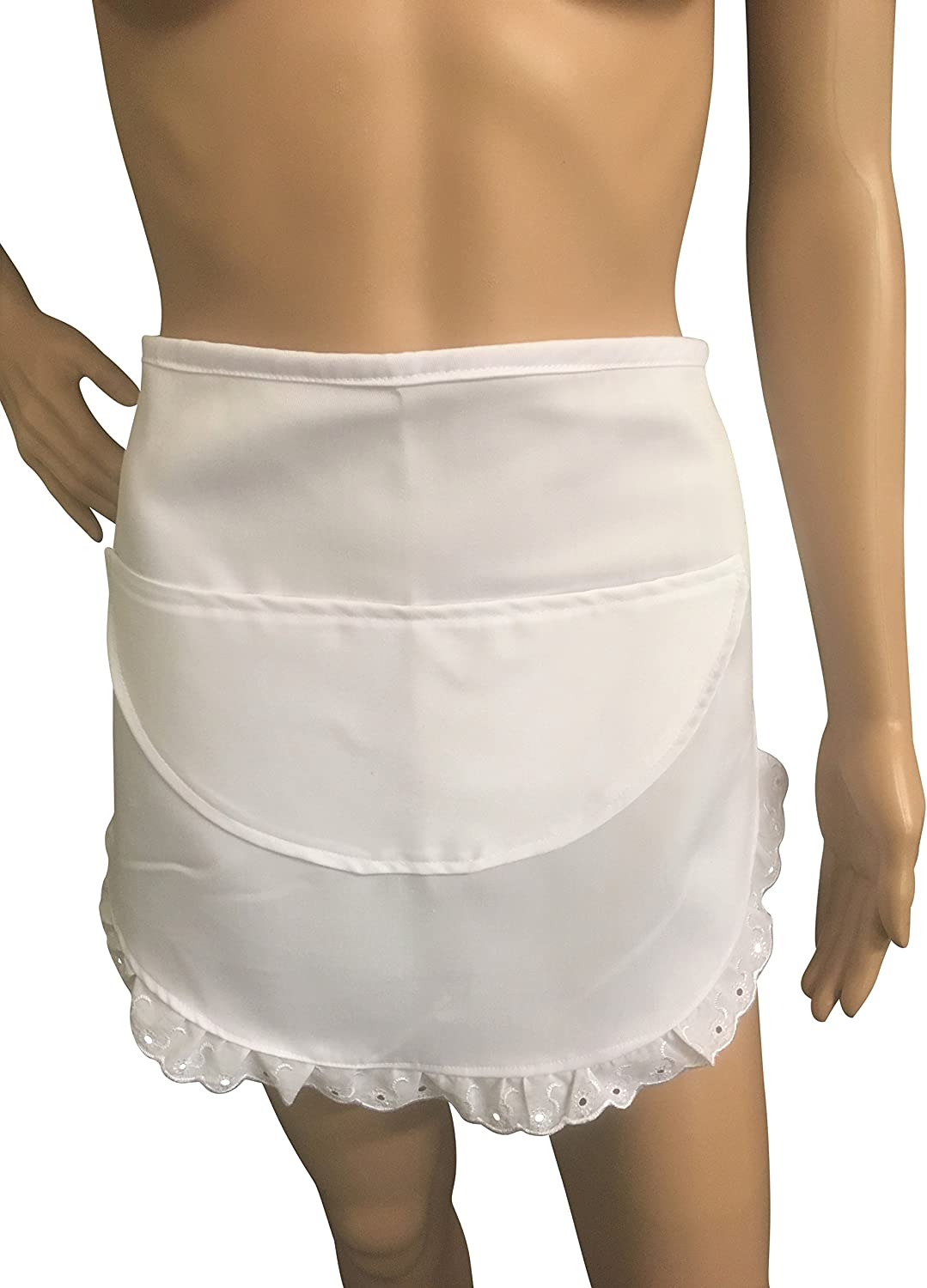 FRENCH MAID PINNY ADULTS 50/'S STYLE Lace Trimmed WHITE WAIST APRON