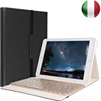SENGBIRCH iPad 9.7 Custodia Tastiera, Custodia per Tastiera Italiana Retroilluminata a 7 Colori Staccabile Compatibile con iPad Air/Air 2, iPad PRO 9.7, iPad 9.7 2017/2018, Nero