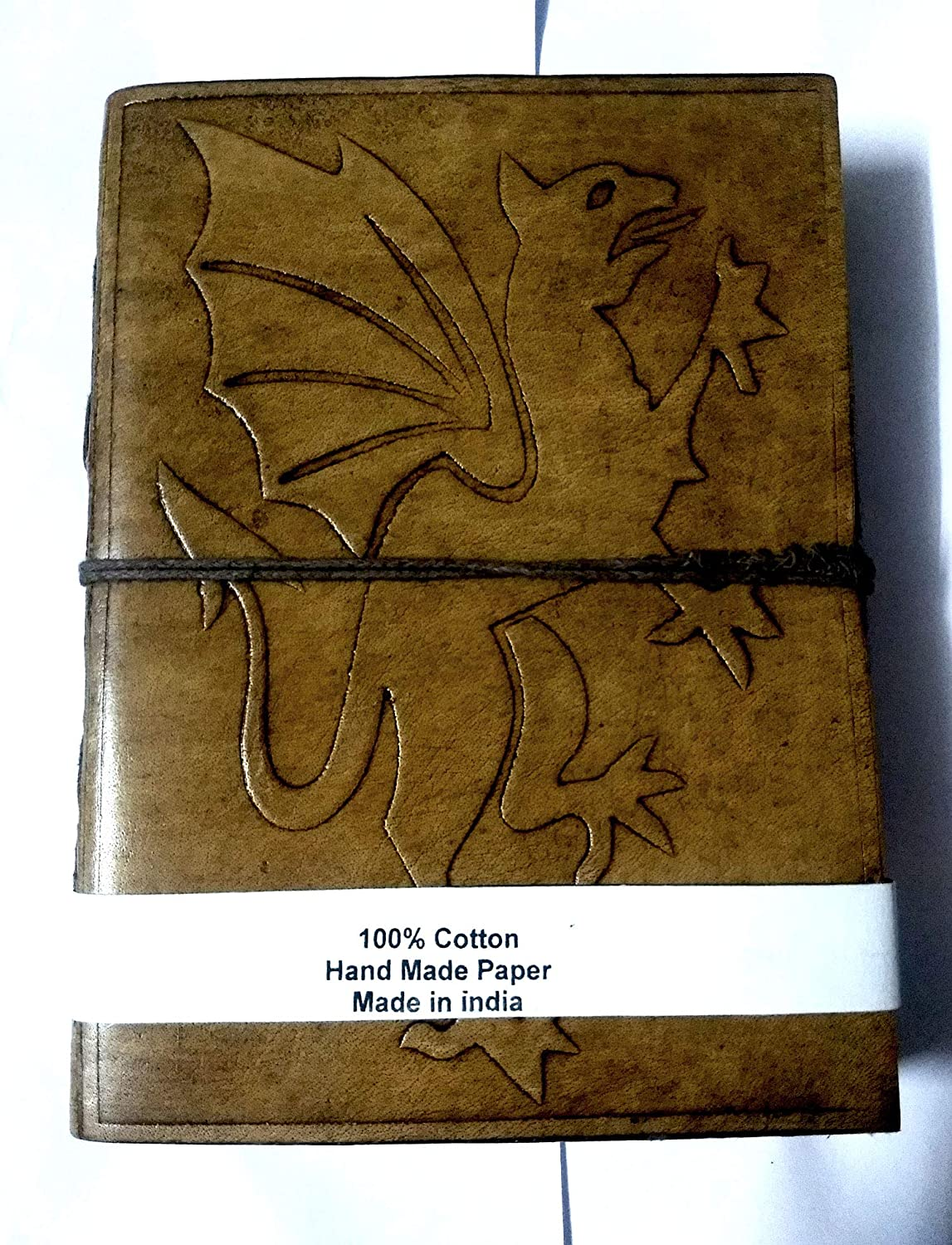 Dragon Leather Journal Personalized Handmade Diary, Routine Planner // Custom Leather Book with Fantasy Dragon