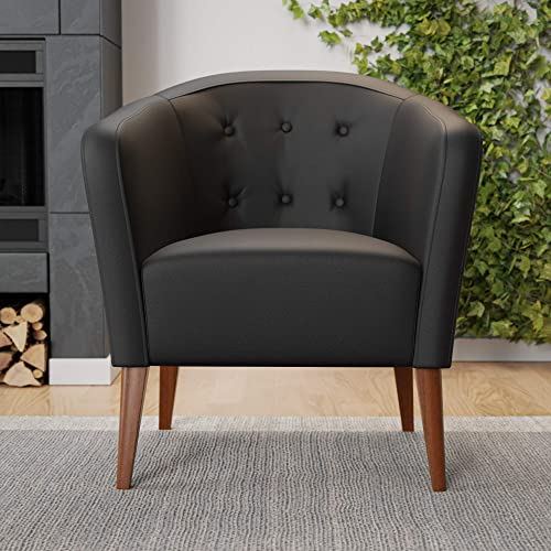 Reviewed: Edenbrook Collins Button Tufted Barrel Wood Legs Upholstered Tub Chair