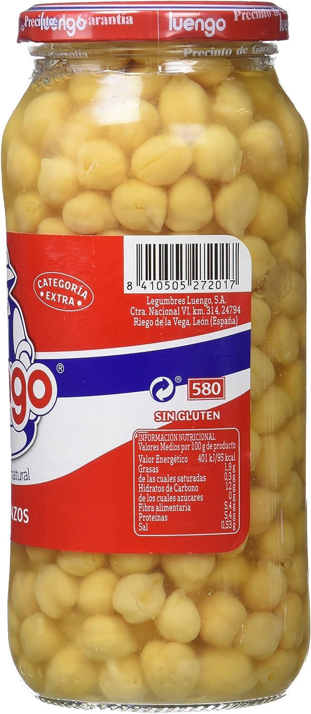 Luengo - Garbanzo Cocido En Frasco De 570 g - [Pack de 12]