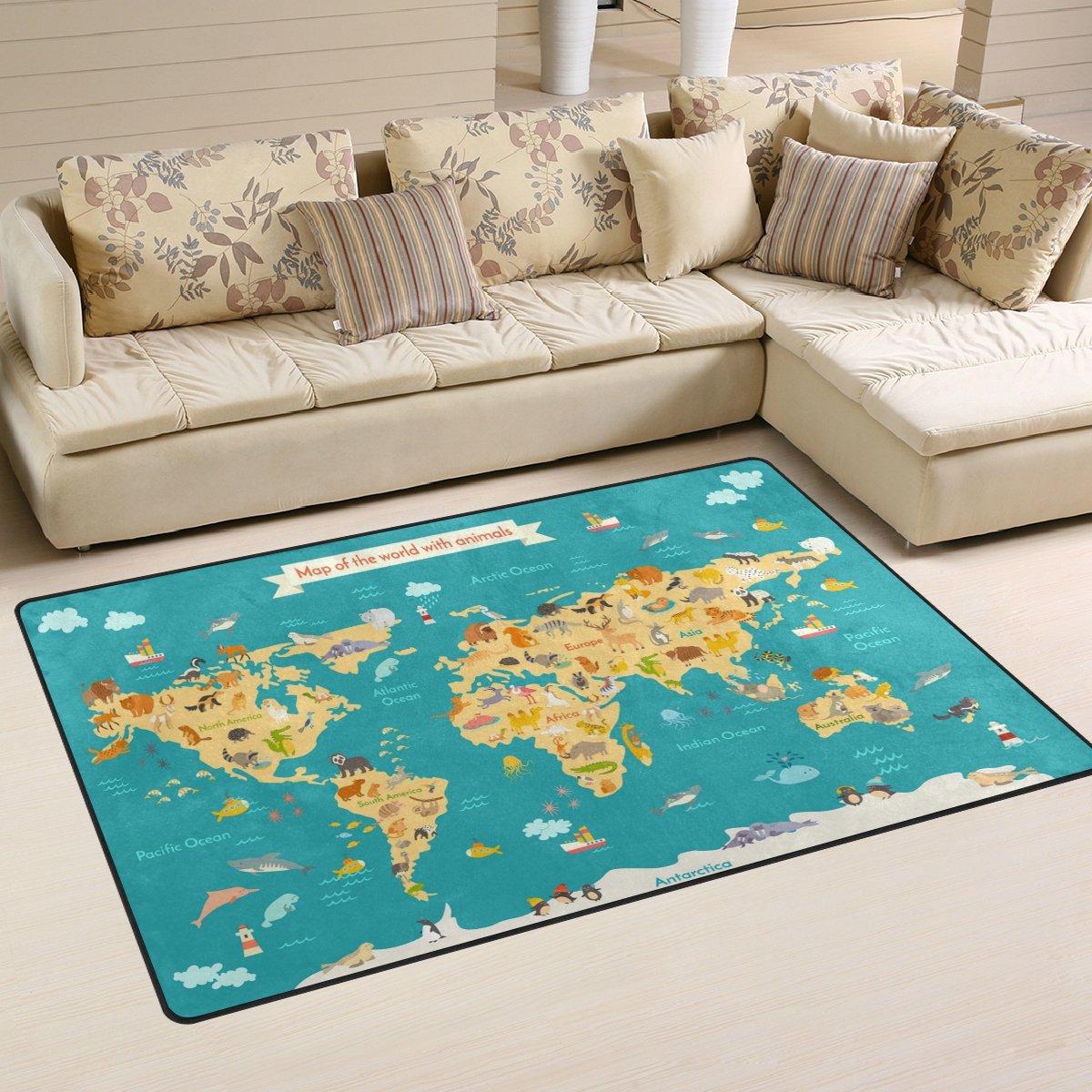 WOZO Animal Kids World Map Area Rug Rugs Non-Slip Floor Mat Doormats Living Room Bedroom 31 x 20 inches g2489635p146c161s240