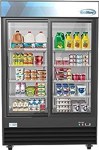 "Koolmore 53"" Commercial Glass 2 Door Display Refrigerator Merchandiser - Upright Beverage Cooler with LED Lighting - 45 Cu. Ft."