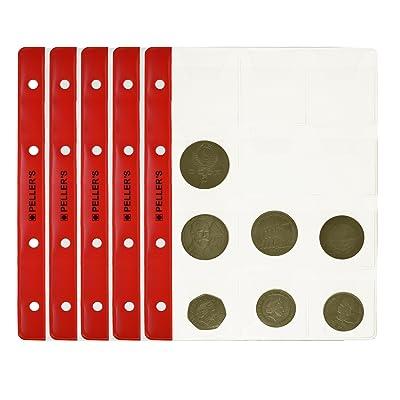 10 Feuilles pour collection de pièces de monnaie, 46mm X 50mm (pour classeur M). 12 Pochettes pour monnaies jusqu'à 40 mm de diamètre.