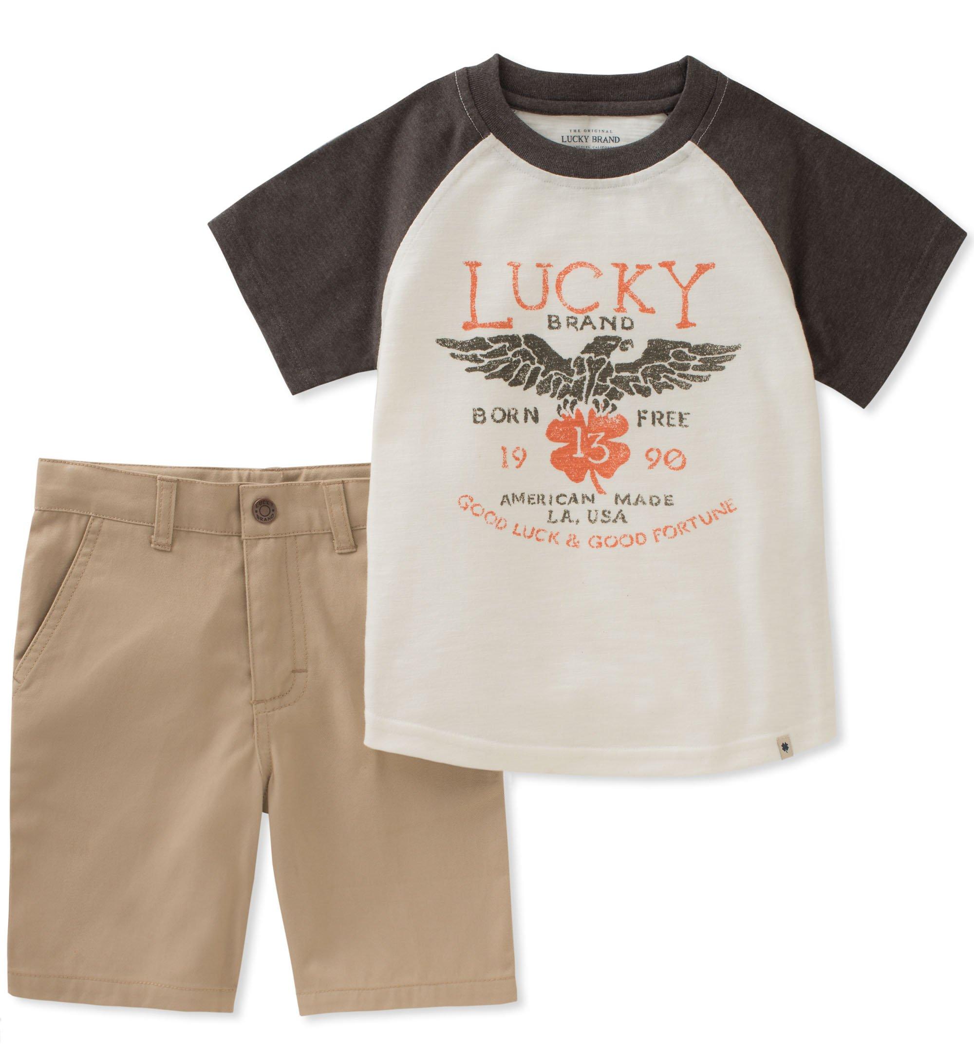 Lucky Brand Boys' Toddler 3/4 Sleeves Shorts Set, Cream, 4T