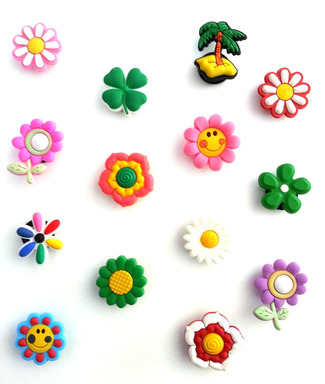 14 pcs Cute Flowers Set of Shoe Charms Buttons / 14 pieces Jeu des Charmes de Chaussure Mignon Fleurs Hermes