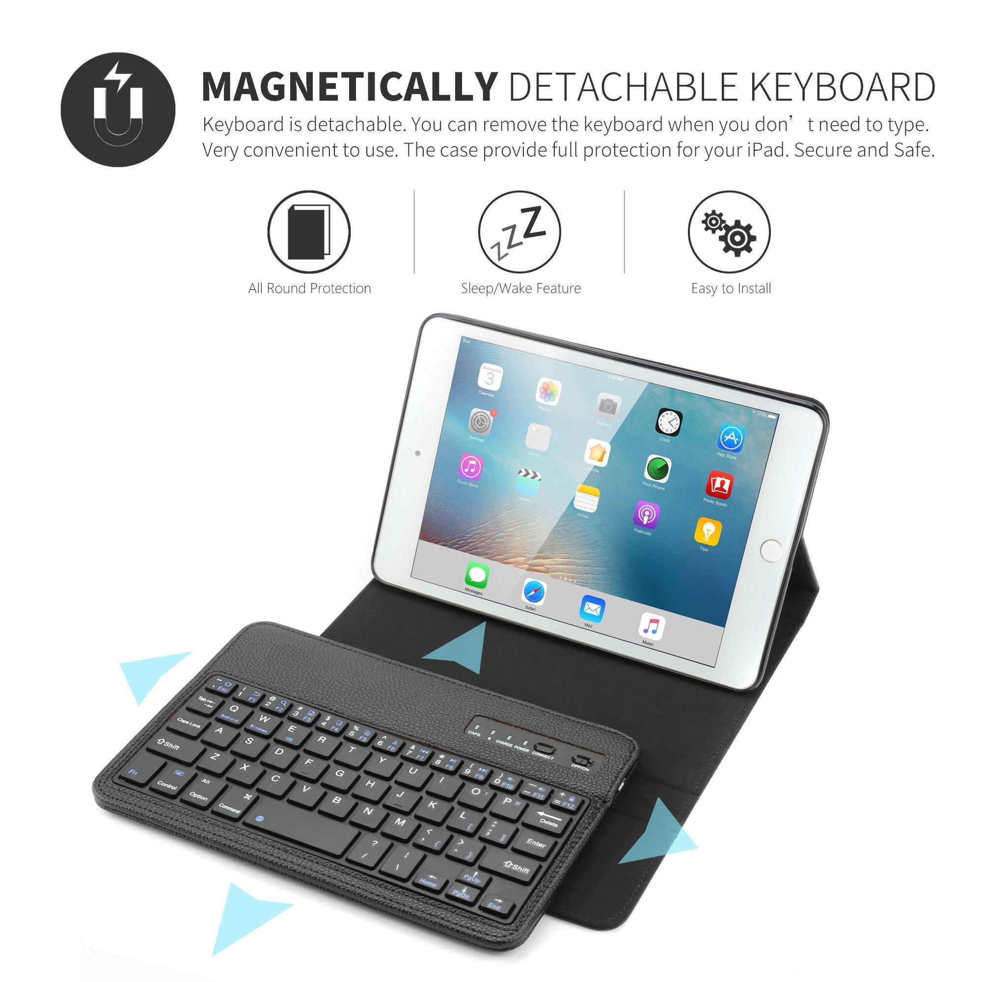 iPad Mini Keyboard Case,Boriyuan iPad Mini Smart Case Stand Folio Leather Cover with Detachable Wireless Bluetooth Keyboard and Screen Protector +Stylus for Apple iPad Mini 1/Mini 2/Mini 3 (Black) by Boriyuan (Image #3)
