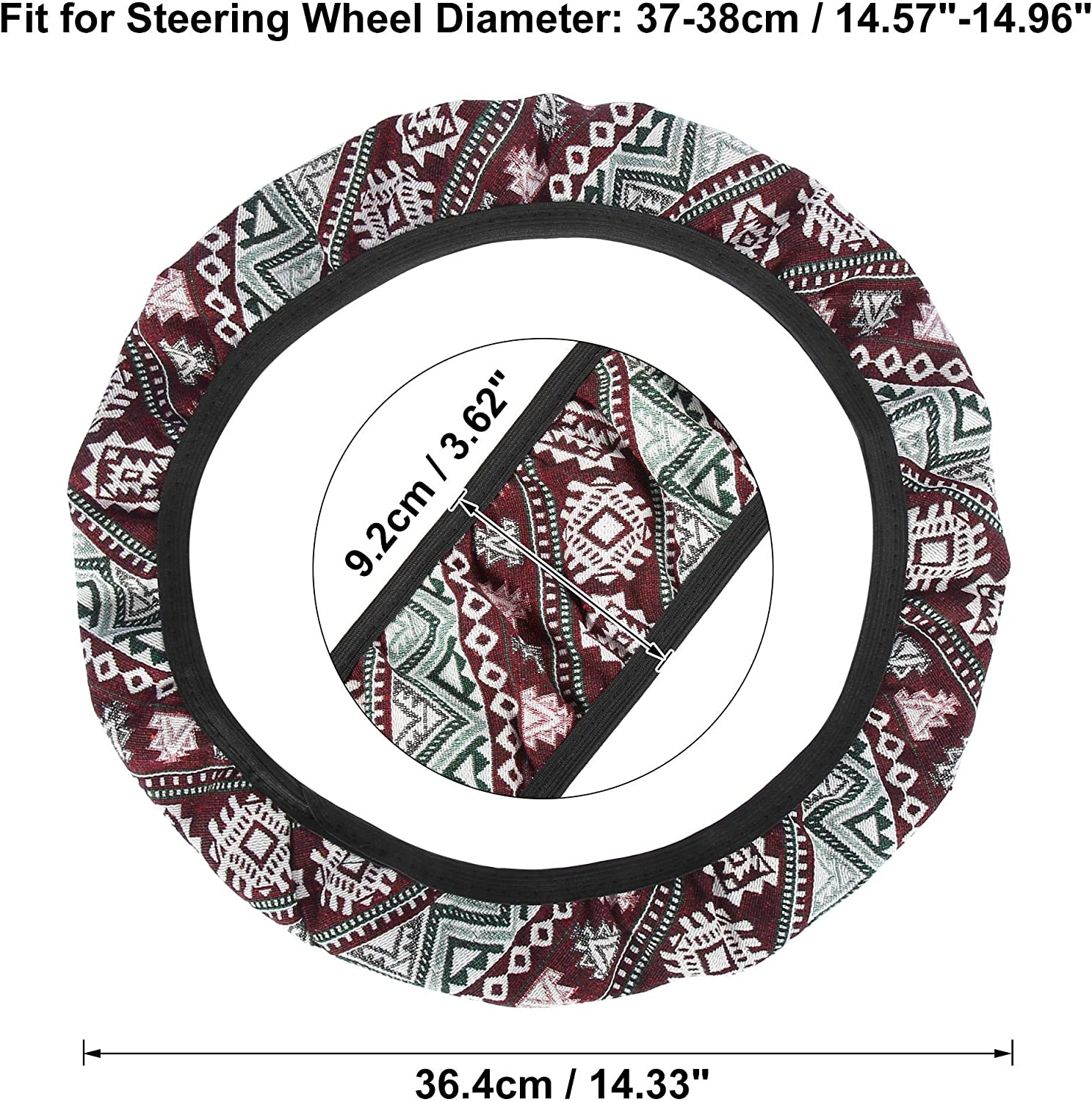X AUTOHAUX 37-38cm 15 Inch Car Steering Wheel Cover with Multicolor Printing Green Wave Pattern