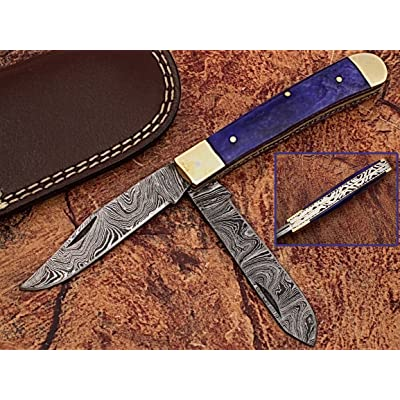 "HANDMADE REAL DAMASCUS STEEL ""7.3 TWIN BLADES AWESOME FOLDING POCKET KNIFE WITH COLOUR CAMEL BONE HANDLE: (BDM-927)"