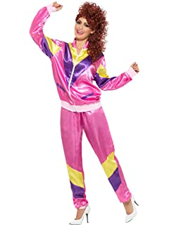 Adult Female Hot Pink 80 S Shellsuit Fancy Dress Women One Size