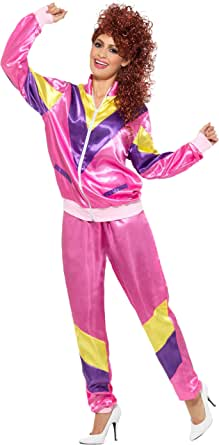 Smiffy's Women's 80's Height of Fashion Shell Suit Costume, Jacket and Pants, Back to The 80's, Serious Fun, Size 14-16, 39660
