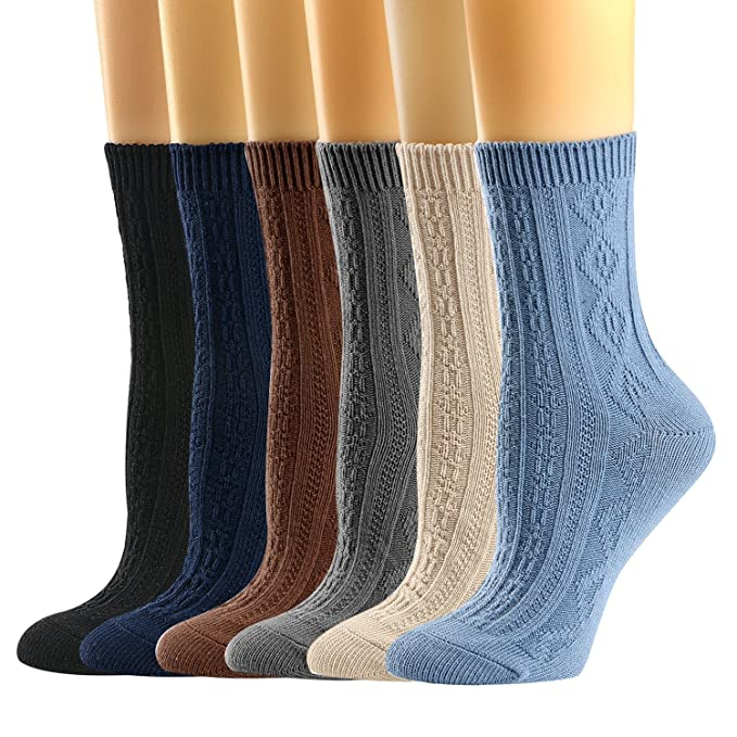 e2801f3936295 Womens Socks, Womens Crew Socks Casual Cotton Knit Comfy Dress Socks for  Women 5/6Pack