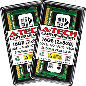 A-Tech 16GB (2x8GB) DDR3 / DDR3L 1600MHz SODIMM PC3L-12800 2Rx8 Dual Rank 1.35V CL11 204-Pin Non-ECC Unbuffered Notebook Laptop RAM Memory Upgrade Kit