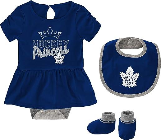 Bib /& Booties Set OuterStuff Toronto Maple Leafs Newborn Girls Rule The Rink Creeper