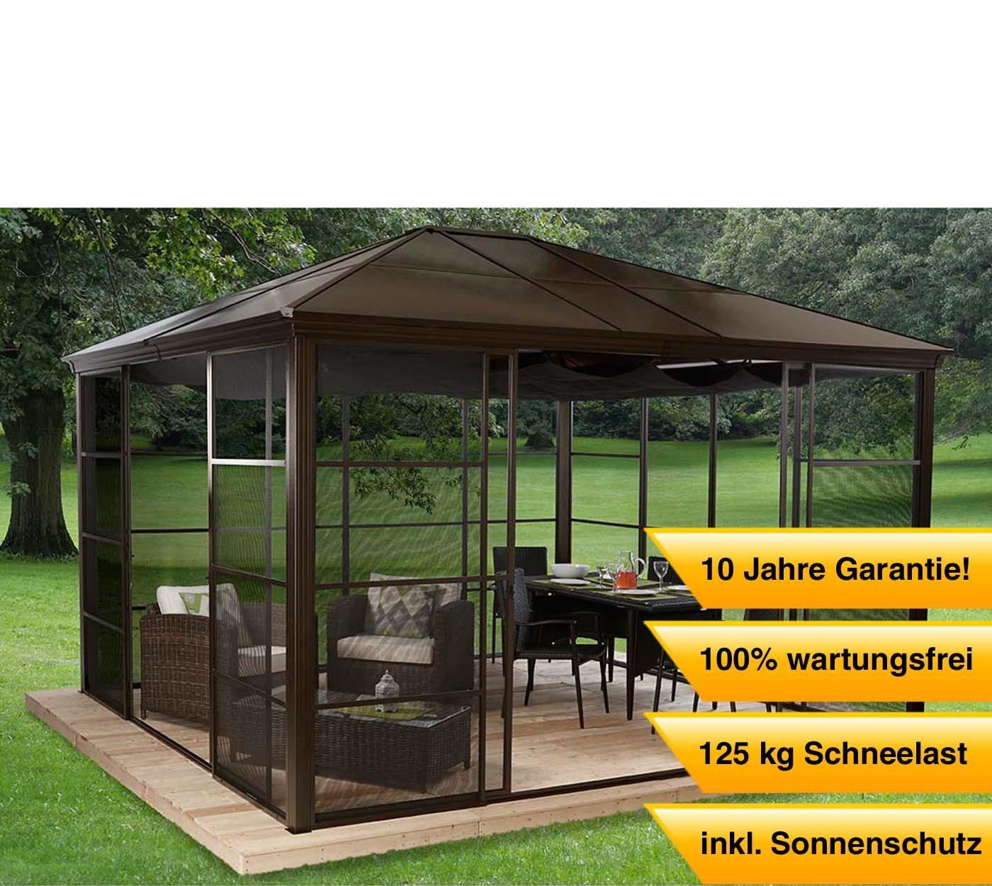 Aluminium Pavillon Überdachung Gazebo Castel 12x14 // 427x362 cm (BxH) // Sommer-Pavillon und Gartenlaube mit Hard-Top Dach von Sojag