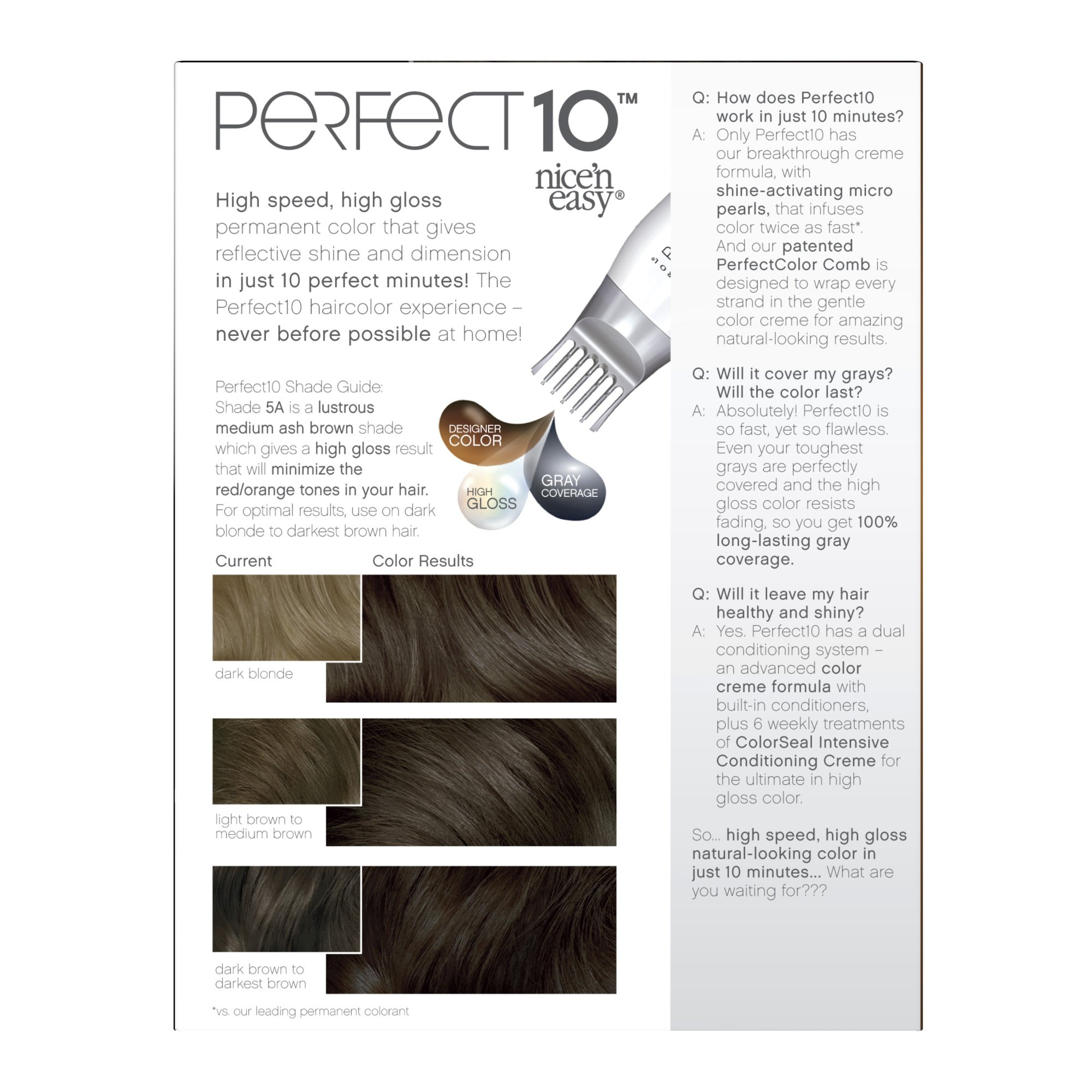 Clairol Perfect 10 By Nice 'N Easy Hair Color Kit (Pack of 2), 005A Medium Ash Brown, Includes Comb Applicator, Lasts Up To 60 Days by Clairol (Image #4)