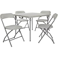 Office Star PCT-05 Resin 5-Piece Folding Chair and Table Set, 4 Chairs and 3-Feet Square Table