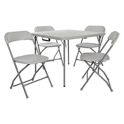Office Star Resin 5-Piece Folding Chair and Table Set 4 Chairs and 3  sc 1 st  Amazon.com & Amazon.com: Office Star Resin 5-Piece Folding Chair and Table Set 4 ...