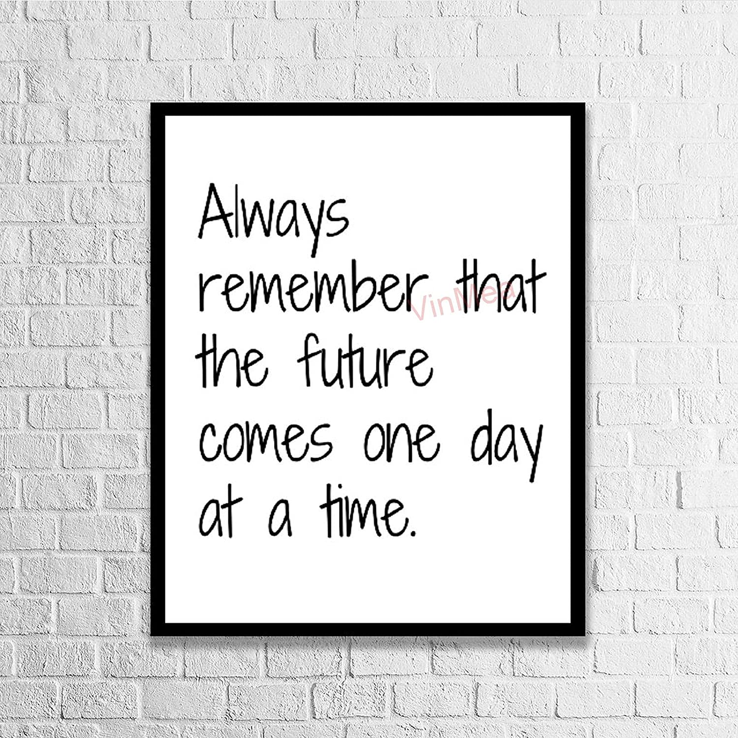 VinMea Framed Wood Sign Always Remember That The Future Comes One Day at A Time Farmhouse Wall Door Wooden Wall Hanging Art,Inspirational Wall Plaque 8