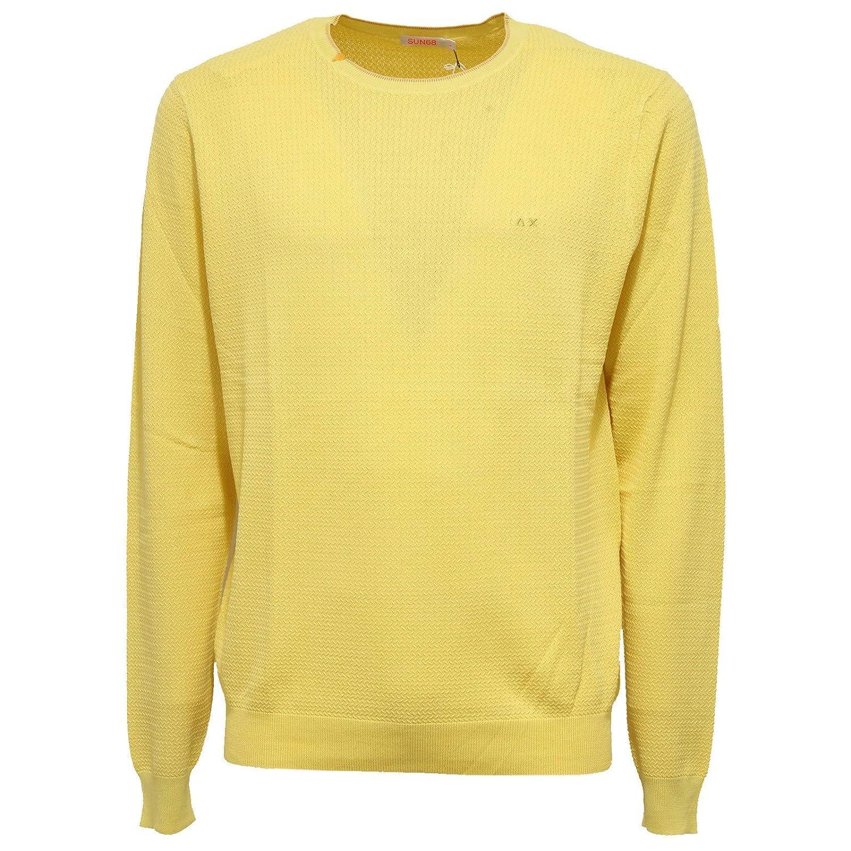 5137X maglione uomo SUN 68 effect vintage yellow sweater cotton man