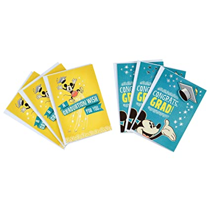 photograph regarding Disney Printable Envelopes titled Hallmark Disney Commencement Playing cards Range, Mickey Mouse Congrats (6 Playing cards with Envelopes)