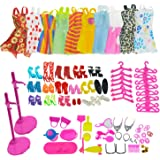 ASIV 10 Dress, 10 Hangers, 14 Pairs Shoes, 2 Doll Display Stand holders, Jewelry accessories, Household items for Barbie Doll, 68 Pieces