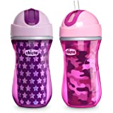 Chicco Insulated Flip-Top Straw Spill Free Baby Sippy Cup, 12 Months+, Pink/Purple, 9 Ounce (Pack of 2)